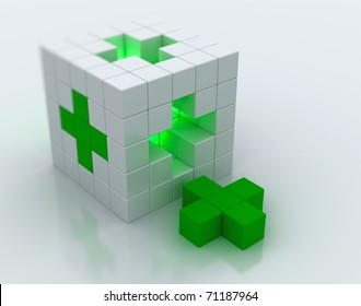 White cube green cross symbol