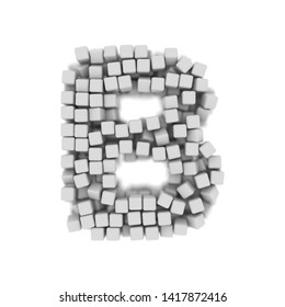 White cube letter B - large 3d voxel font isolated on white background. This alphabet is perfect for creative illustrations related but not limited to science, modernity, technology...