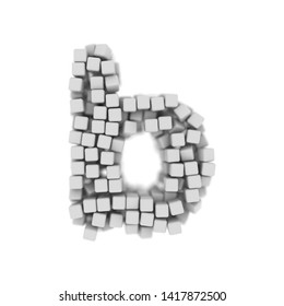 White cube letter B - Small 3d voxel font isolated on white background. This alphabet is perfect for creative illustrations related but not limited to science, modernity, technology...