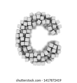 White cube letter C - large 3d voxel font isolated on white background. This alphabet is perfect for creative illustrations related but not limited to science, modernity, technology...