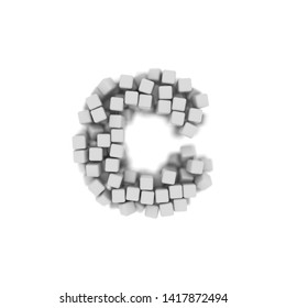 White cube letter C - Small 3d voxel font isolated on white background. This alphabet is perfect for creative illustrations related but not limited to science, modernity, technology...