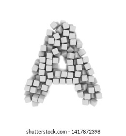 White cube letter A - Capital 3d voxel font isolated on white background. This alphabet is perfect for creative illustrations related but not limited to science, modernity, technology...