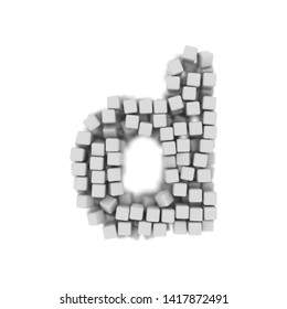 White cube letter D - Small 3d voxel font isolated on white background. This alphabet is perfect for creative illustrations related but not limited to science, modernity, technology...