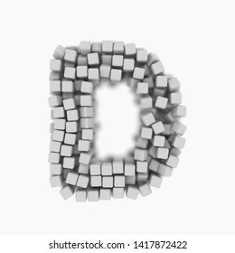 White cube letter D - Uppercase 3d voxel font isolated on white background. This alphabet is perfect for creative illustrations related but not limited to science, modernity, technology...
