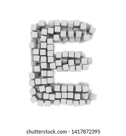 White cube letter E - large 3d voxel font isolated on white background. This alphabet is perfect for creative illustrations related but not limited to science, modernity, technology...
