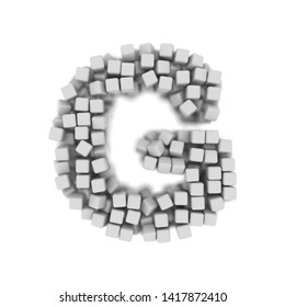 White cube letter G - large 3d voxel font isolated on white background. This alphabet is perfect for creative illustrations related but not limited to science, modernity, technology...