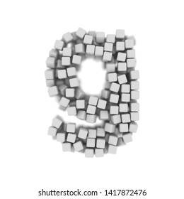 White cube letter G - Lowercase 3d voxel font isolated on white background. This alphabet is perfect for creative illustrations related but not limited to science, modernity, technology...
