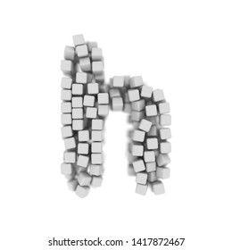 White cube letter H - Small 3d voxel font isolated on white background. This alphabet is perfect for creative illustrations related but not limited to science, modernity, technology...