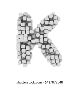 White cube letter K - Large 3d voxel font isolated on white background. This alphabet is perfect for creative illustrations related but not limited to science, modernity, technology...