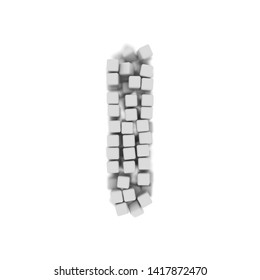 White cube letter L - small 3d voxel font isolated on white background. This alphabet is perfect for creative illustrations related but not limited to science, modernity, technology...