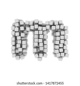 White cube letter M - Small 3d voxel font isolated on white background. This alphabet is perfect for creative illustrations related but not limited to science, modernity, technology...