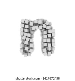 White cube letter N - Lower-case 3d voxel font isolated on white background. This alphabet is perfect for creative illustrations related but not limited to science, modernity, technology...