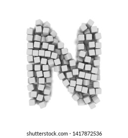 White cube letter N - Uppercase 3d voxel font isolated on white background. This alphabet is perfect for creative illustrations related but not limited to science, modernity, technology...