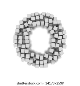 White cube letter O - Capital 3d voxel font isolated on white background. This alphabet is perfect for creative illustrations related but not limited to science, modernity, technology...