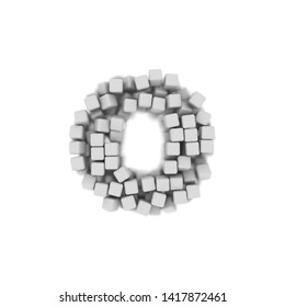 White cube letter O - Lowercase 3d voxel font isolated on white background. This alphabet is perfect for creative illustrations related but not limited to science, modernity, technology...