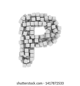White cube letter P - Capital 3d voxel font isolated on white background. This alphabet is perfect for creative illustrations related but not limited to science, modernity, technology...