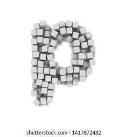 White cube letter P - Small 3d voxel font isolated on white background. This alphabet is perfect for creative illustrations related but not limited to science, modernity, technology...