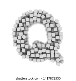 White cube letter Q - large 3d voxel font isolated on white background. This alphabet is perfect for creative illustrations related but not limited to science, modernity, technology...
