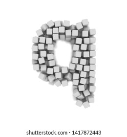 White cube letter Q - Small 3d voxel font isolated on white background. This alphabet is perfect for creative illustrations related but not limited to science, modernity, technology...