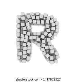 White cube letter R - Capital 3d voxel font isolated on white background. This alphabet is perfect for creative illustrations related but not limited to science, modernity, technology...