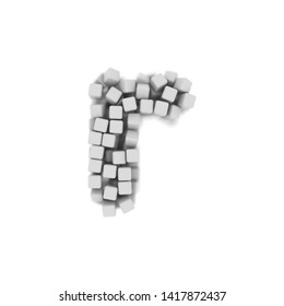 White cube letter R - Small 3d voxel font isolated on white background. This alphabet is perfect for creative illustrations related but not limited to science, modernity, technology...