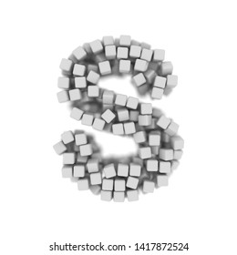 White cube letter S - Capital 3d voxel font isolated on white background. This alphabet is perfect for creative illustrations related but not limited to science, modernity, technology...
