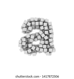 White cube letter A - Small 3d voxel font isolated on white background. This alphabet is perfect for creative illustrations related but not limited to science, modernity, technology...