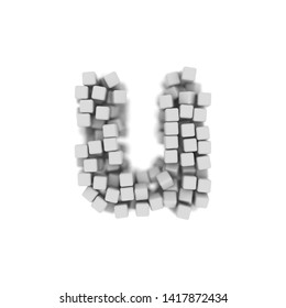 White cube letter U - Small 3d voxel font isolated on white background. This alphabet is perfect for creative illustrations related but not limited to science, modernity, technology...
