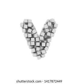 White cube letter V - Small 3d voxel font isolated on white background. This alphabet is perfect for creative illustrations related but not limited to science, modernity, technology...