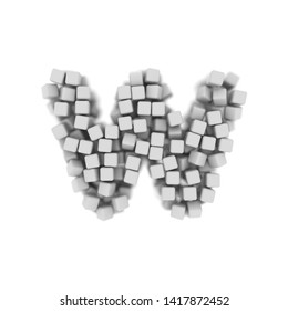 White cube letter W - Lower-case 3d voxel font isolated on white background. This alphabet is perfect for creative illustrations related but not limited to science, modernity, technology...