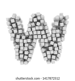 White cube letter W - Uppercase 3d voxel font isolated on white background. This alphabet is perfect for creative illustrations related but not limited to science, modernity, technology...