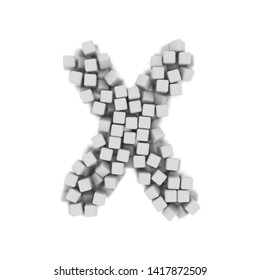 White cube letter X - Capital 3d voxel font isolated on white background. This alphabet is perfect for creative illustrations related but not limited to science, modernity, technology...