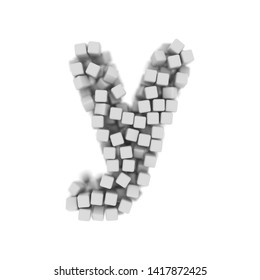White cube letter Y - Small 3d voxel font isolated on white background. This alphabet is perfect for creative illustrations related but not limited to science, modernity, technology...