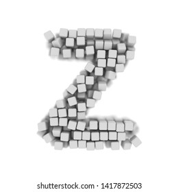 White cube letter Z - Capital 3d voxel font isolated on white background. This alphabet is perfect for creative illustrations related but not limited to science, modernity, technology...
