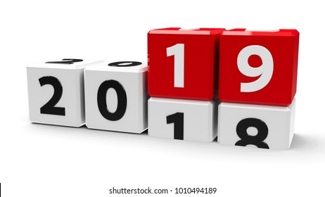 White cubes with 2018-2019 change on a white table represents the new 2019 year, three-dimensional rendering, 3D illustration