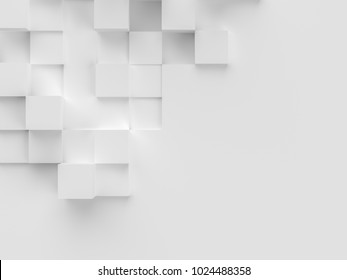White cubes abstract background.