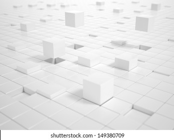 A lot of white Cubes matching together and building a Platform
