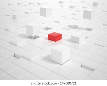 A lot of white Cubes matching together and building a Platform with a red Cube in Center