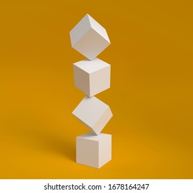 White cubes on each other over the orange background, abstract image wallpapper. Trend 3D rendering illustration of solids levitation. Cube stack balance, geometric illusion.