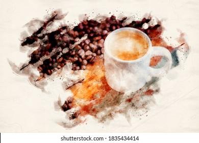 weiße Tasse frischen Kaffee auf Holztisch mit Kaffeebohnen in Wasserfarben
