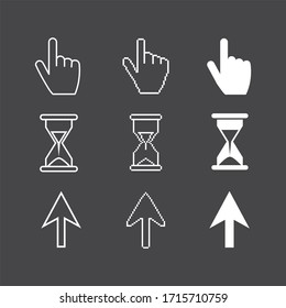 White Cursors icons ,sig,symbol ,pictogram set Pixel cursors ,mouse hand arrow hourglass isolated on a brown background in outline or thin line style