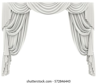 White Curtains Isolated. 3D rendering