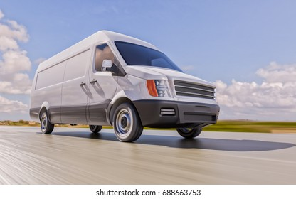 White Custom Designed Brandless Commercial Van on the Road Motion Blurred 3d Illustration