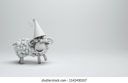 White cute cartoon sheep smile wearing party hat. Design creative concept of islamic celebration eid al adha or happy birthday. 3d rendering illustration.