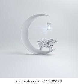 White cute cartoon sheep smile with crescent moon and hanging arabic lantern lamp. Design creative concept of islamic celebration eid al adha. 3d rendering illustration.
