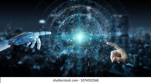 White cyborg hand on blurred background using planet Earth interface 3D rendering