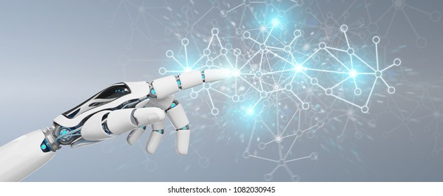 White cyborg hand on blurred background using digital network connection 3D rendering
