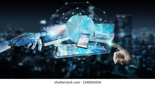 White cyborg hand on blurred background connecting devices together 3D rendering