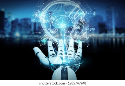 White cyborg hand on blurred background creating artificial intelligence 3D rendering