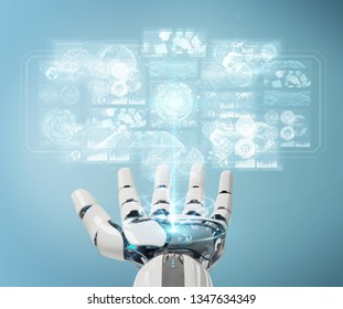 White cyborg hand on blurred background using digital datas interface 3D rendering